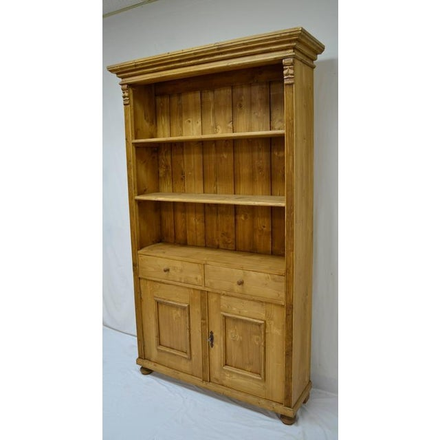 2010s Antique Pine Bookcase With Two Doors and Two Drawers For Sale - Image 5 of 9