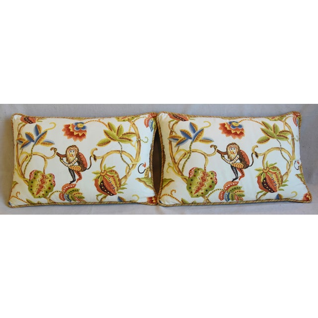 Pair of custom-tailored pillows in unused fabric from P. Kaufmann Fabrics called Bazaar Paradise depicting a beautiful...