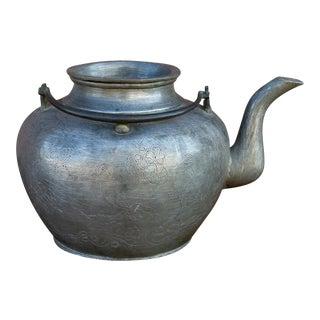 Vintage Engraved Pewter Tea Kettle For Sale