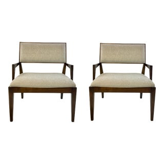 Henredon Mid-Century Modern Style Gray Upholstered Arm Chairs Pair For Sale