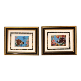 A Pair Foxhound Dog Prints by Judy Henn For Sale