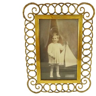 Antique English Brass Ring Picture Frame For Sale