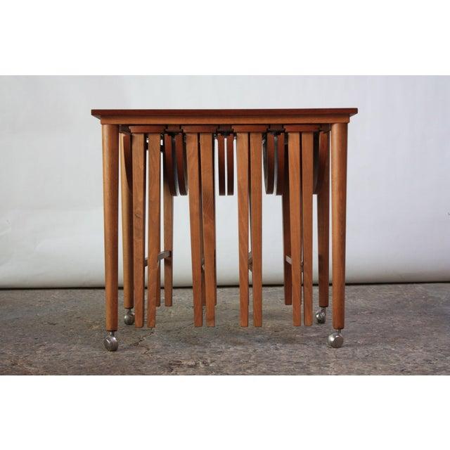 Metal Set of Teak Serving Tables after Bertha Schaefer For Sale - Image 7 of 10