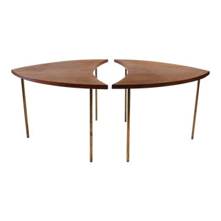 Mid-Century Vintage Peter Hvidt for John Stewart Danish Segmented Side Tables- A Pair For Sale