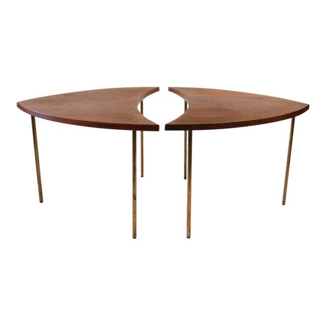Mid-Century Vintage Peter Hvidt for John Stewart Danish Segmented Side Tables- A Pair For Sale
