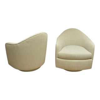 1970s Oval Back Chairs on Swivel Bases - a Pair For Sale