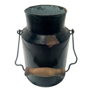 Antique Primitive Industrial Metal Can, Vessel For Sale