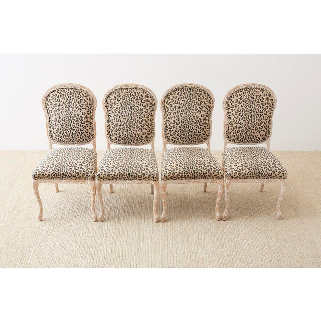 Regency Set of Four Cerused Faux Bois Dining Chairs For Sale - Image 3 of 13