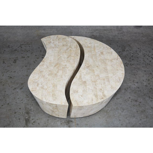 """Fiberglass 1990s Contemporary Freeform Tessellated Stone Two Part """"Hampton"""" Coffee Table For Sale - Image 7 of 13"""