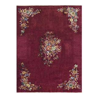 Contemporary Hand Woven Wine Floral Wool Rug - 8'10 X 11'6 For Sale