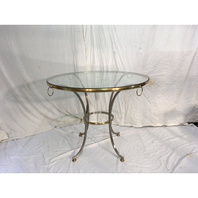 Hollywood Regency Jansen Style Steel & Brass Table For Sale - Image 3 of 9