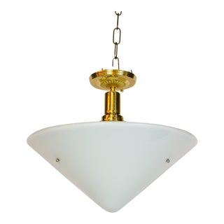 White Milk Glass Conical Pendant For Sale