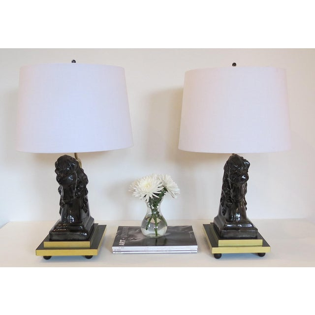 Mid- Century Ceramic and Brass Horsehead Lamps - A Pair - Image 7 of 7
