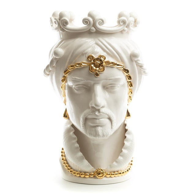 Metal 24 Karat Gold Sicilian Gigante Head, Schittone Modern Moro For Sale - Image 7 of 10