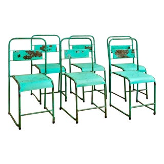 Vintage 1940's Industrial Green Metal Stacking Chairs- Set of 6 For Sale
