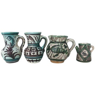 19th Set of Four Glazed Terrracota Vases , Urns, Pitchers in Green & White For Sale