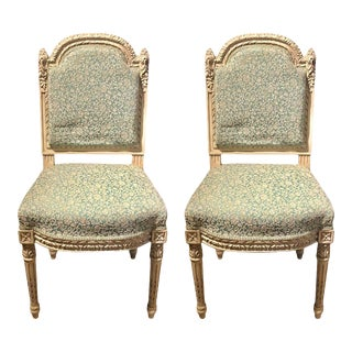 A Paint Decorated Louis Xvi Style Side / Dining Chair, Finely Carved - Set of 14 For Sale