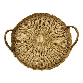 Vintage Woven Wicker Platter Basket For Sale
