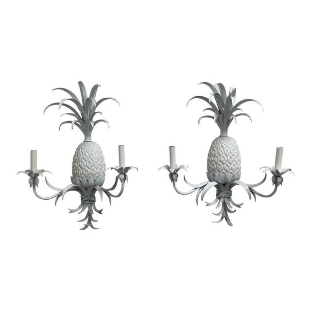Pineapple Tole Candle Wired Wall Sconces - a Pair For Sale