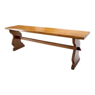Heavy Solid Oak Top Long Narrow Harvest Table For Sale