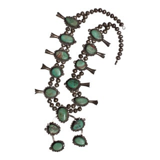 Vintage Polished Turquoise Squash Blossom Necklace For Sale