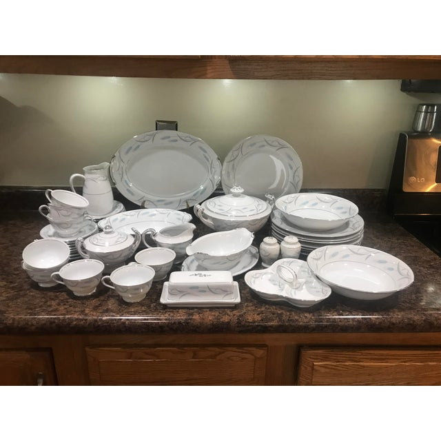 Royal wheat valmont China Japan. With platinum trim 48 pc set includes : large 14 in platter, three sections relish dish...