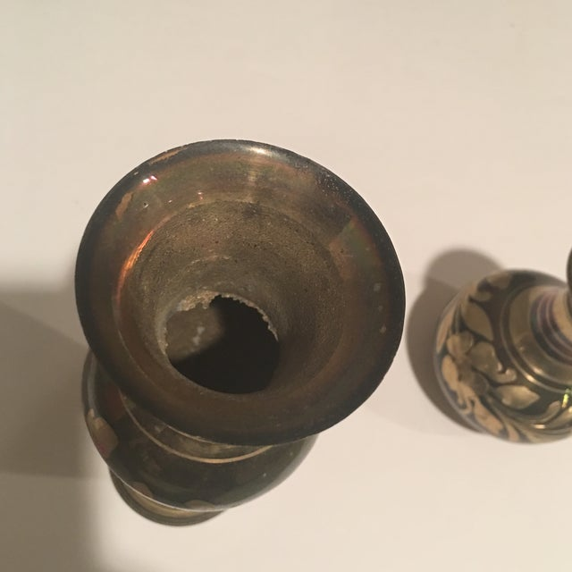 Gold Polished Brass Vases - A Pair For Sale - Image 8 of 11