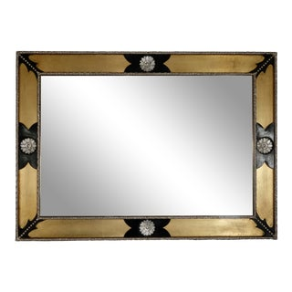Black and Gold Beveled Mirror For Sale