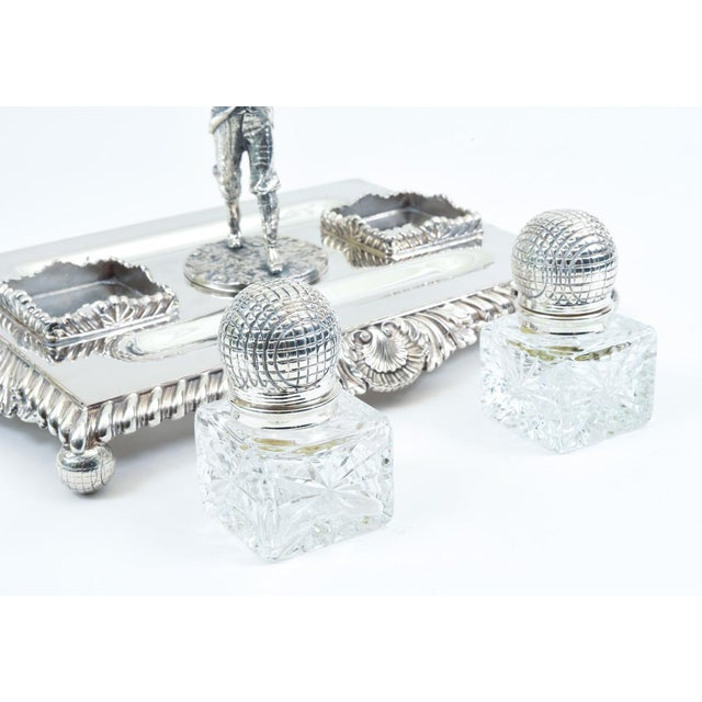 English Sheffield Silver Plated Golfer Footed Desk Inkwells With Stand For Sale - Image 4 of 10