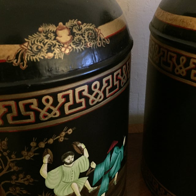 Black English Tole Tea Canisters - A Pair - Image 7 of 8