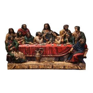 "Mid-20th Century Spanish Carved Polychromed and Gilt ""Last Supper"" Sculpture For Sale"
