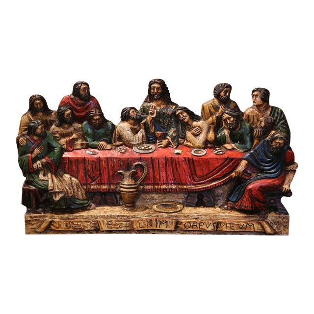 """Mid-20th Century Spanish Carved Polychromed and Gilt """"Last Supper"""" Sculpture For Sale"""