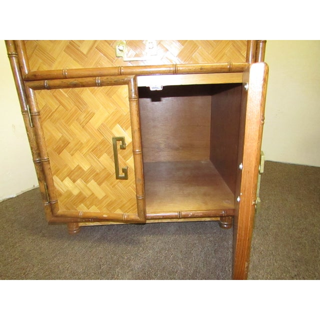 Split Bamboo & Woven Accent Table Cabinet For Sale - Image 5 of 7