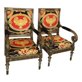 Modern Gianni Versace Costom Made XV Bergere Chairs- A Pair For Sale