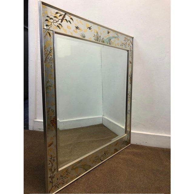 Great Condition Labarge Chinoiserie wall mirror reverse hand painted in great condition for its age