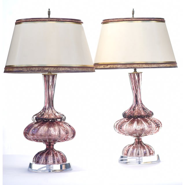 Vintage Purple Murano Lamps ..With Silver Fleck - a Pair For Sale - Image 4 of 4