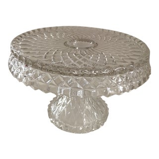Early American Pattern Glass Quilted Diamond Tall Pedestal Cake Stand For Sale
