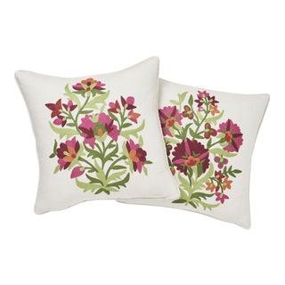 Contemporary Schumacher Antalya Medallion Embroidery Pillows in Garnet - a Pair For Sale