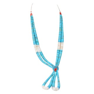 Native American Style Coral and Glass Beads Turquoise Necklace For Sale