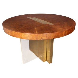 Midcentury Burled Ash, Brass and Lucite Center/Dining Table by Vladimir Kagan For Sale