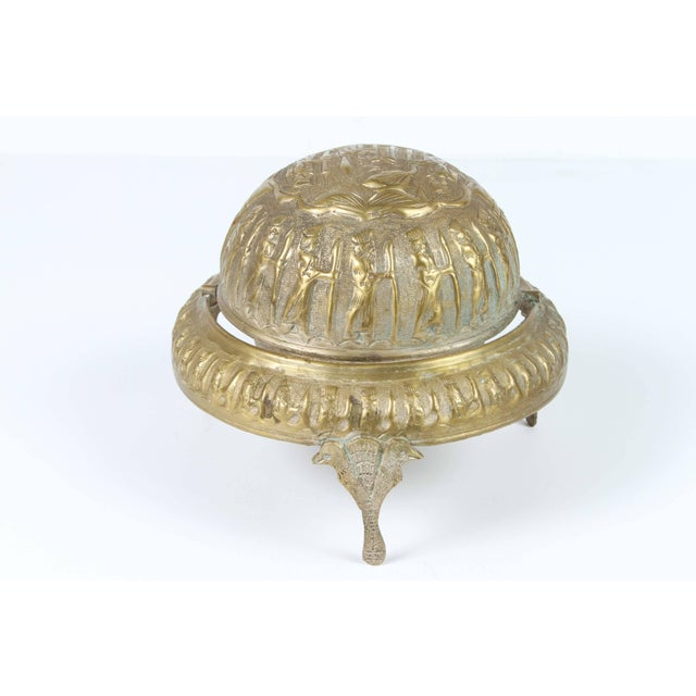 Metal Footed Brass Silvered Persian Caviar Server For Sale - Image 7 of 8