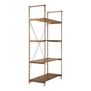 Antique French Wood & Steel Industrial Shelving Unit