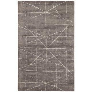 Jaipur Living Duval Handmade Geometric Dark Gray/ Silver Area Rug - 9′ × 13′ For Sale