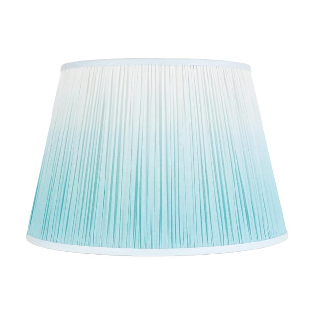 """Textile Ombre Cotton Shirred Shade 18"""" Aqua For Sale - Image 7 of 7"""
