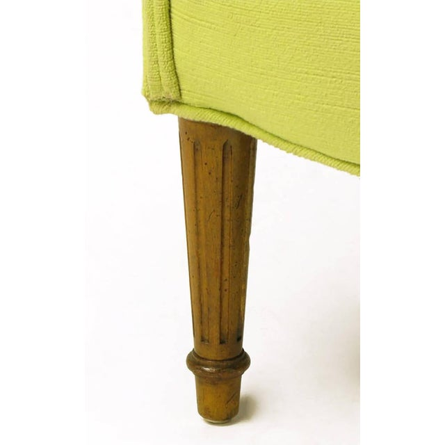 Pair of Chartreuse Yellow-Green Velvet Regency Lounge Chairs - Image 8 of 9