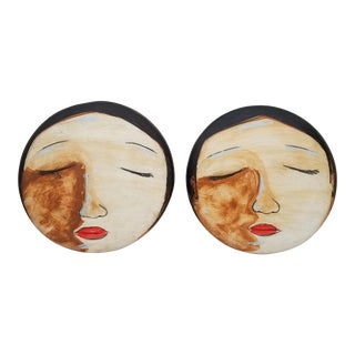 1970s Vintage Hand-Painted Face Ceramic Wall Art - 2 Pieces For Sale