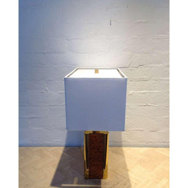 Brass Burl-Wood and Brass Table Lamp Designed by Milo Baughman For Sale - Image 7 of 9
