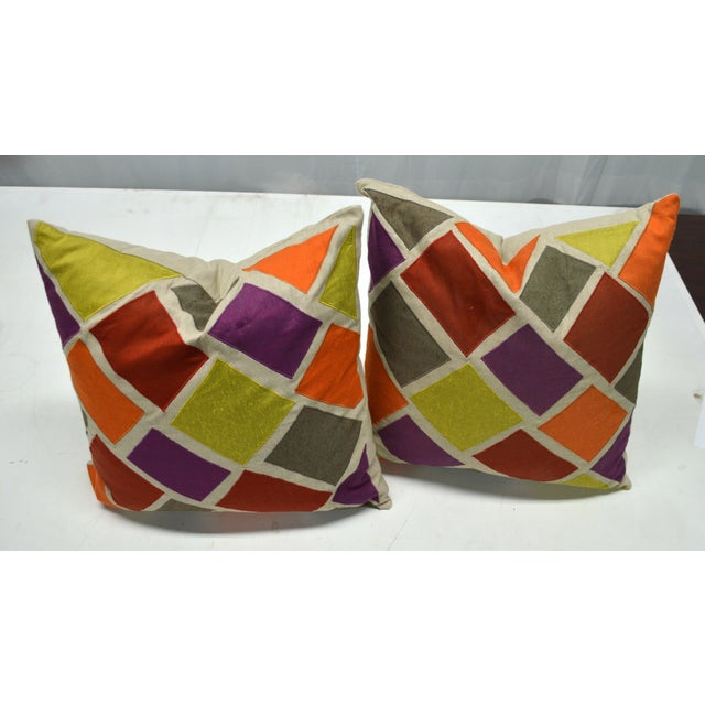 Mid-Century Modern Multicolor Inlaid Square Pillows - A Pair For Sale - Image 3 of 5