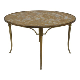 1950s Mid-Century Modern Billy Haines Brass & Capiz Shell Greek Revival Klismos Table For Sale