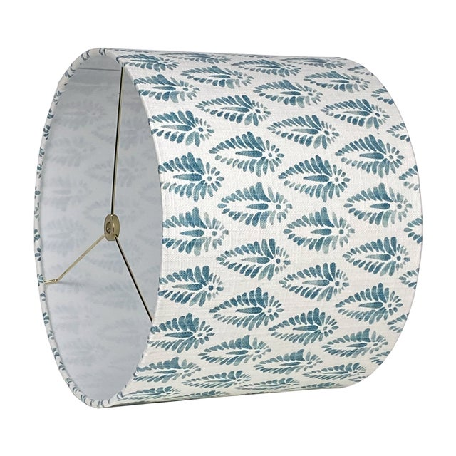 DETAILS: - New, handcrafted lampshade - Fabric: A cotton, basketweave fabric with a block print design. Colors include...